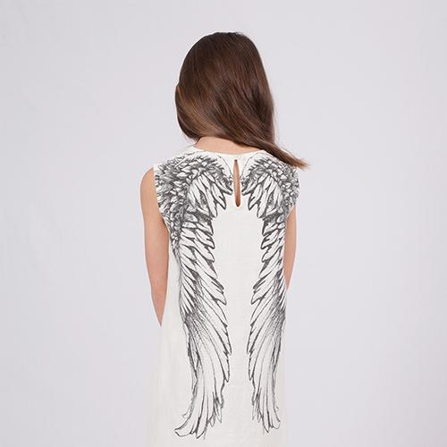 Girls dress with wings pattern