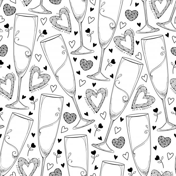 Seamless pattern with outline champagne glass and hearts in black on the white background.