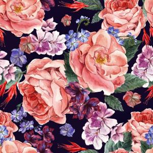 Watercolor pattern with blooming roses