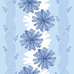 Seamless pattern with ornate chicory flower in blue on the light blue background with stripes.