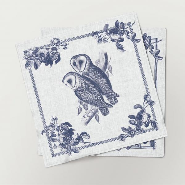 Napkins set /  Toile de Jouy Birds / Owl