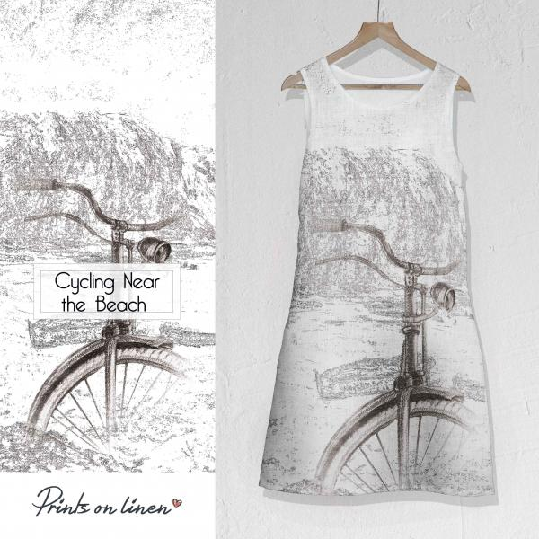 Linen dress / Cycling Near the Beach