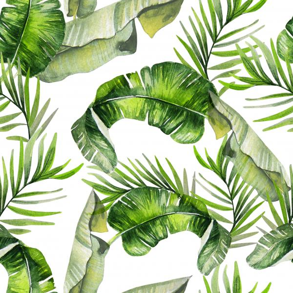 Beautiful watercolor seamless tropical jungle floral pattern background with palm leaves.