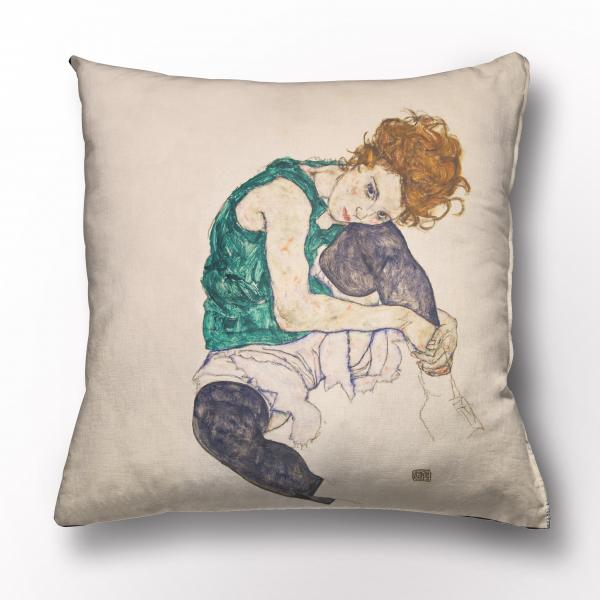 Cushion cover / Seated Woman with Legs Drawn Up