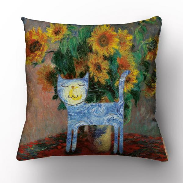 Cushion cover / Claude Monet and cat