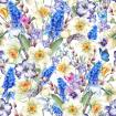 Gentle vintage watercolor pattern with spring bouquet with daffodils, violets, pussy-willow, pansies, muscari and butterflies
