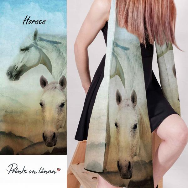 Linen scarf with horses pattern