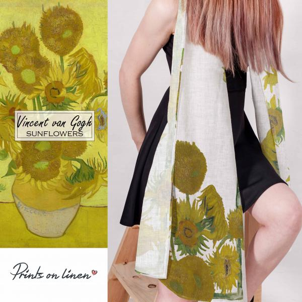 Linen scarf / Sunflowers white background