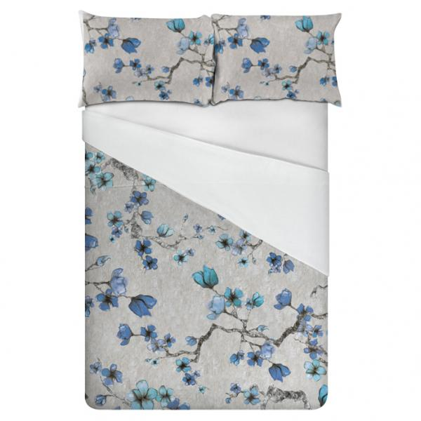Linen bedding set / Midnight Flowers (Blue)