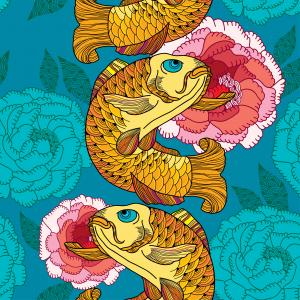 Seamless pattern with carp koi in gold and pink chrysanthemum