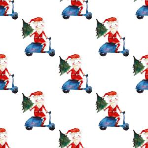 Christmas pattern: Santa on motorbike