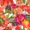 Watercolor pattern with Oriental Chinese New Year Element, Lights, Fan, Lotus, Mandarin