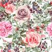 Pattern with watercolor realistic rose, peonies, butterflies and plants.