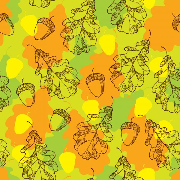 Autumn pattern with decorative oak leaves and acorns.
