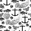 Marine black and white decorative pattern