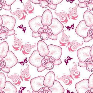 Seamless pattern with pink dotted moth Orchid or Phalaenopsis and ornate butterflies on the white background.