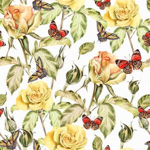 Pattern with watercolor realistic rose and butterflies.