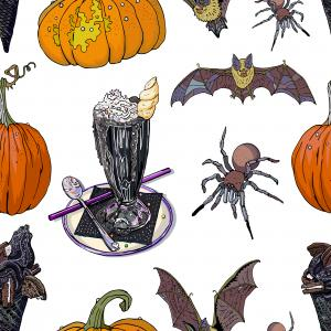 Halloween treats and symbols seamless pattern.