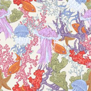 Watercolor Pattern with fish, jellyfish and corals on white