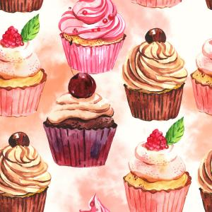 Watercolor pattern with cakes