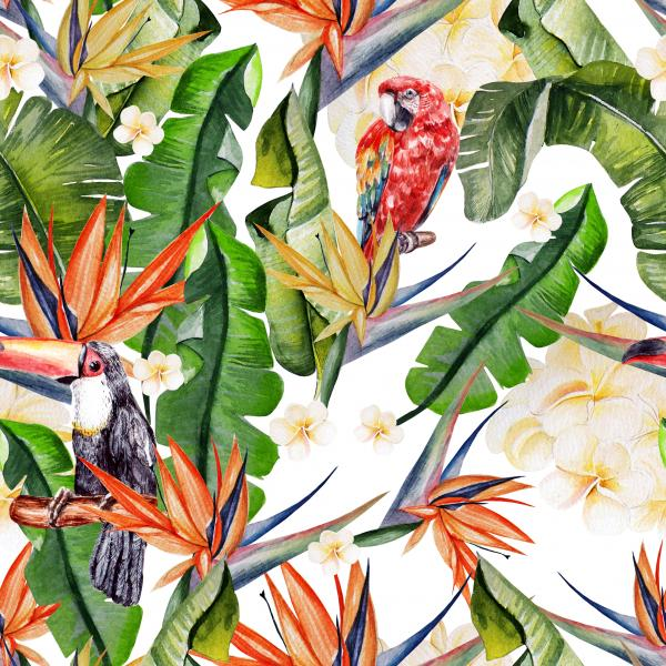 Beautiful watercolor seamless tropical jungle floral pattern background with palm leaves and flowers of strelitzia, parrots and tukan.