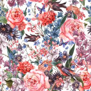 Floral watercolor pattern with roses, hyacinths, wild flowers and birds in vintage style