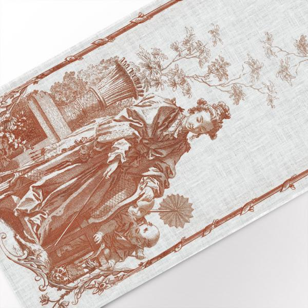 Table runner / Women playing with a cat III