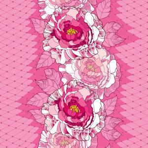 Seamless pattern with peony in pink, ornate leaves and decorative white lace on the pink background.