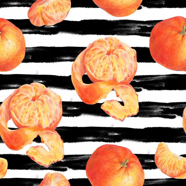 tangerines pattern on black and white striped background