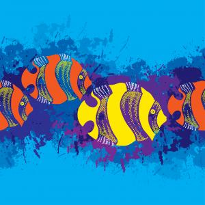 Seamless pattern with dotted fish.