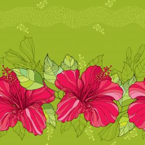 Floral pattern with Chinese Hibiscus in red and stripes.