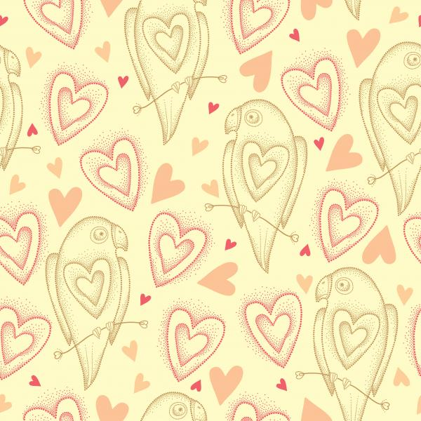 Romantic pattern with dotted parrots and hearts.
