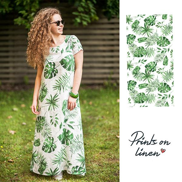 "Long woman's dress ""Monstera"" with sleeves"