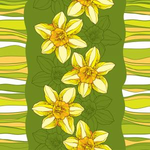 Seamless pattern with ornate narcissus on the green background with stripes.