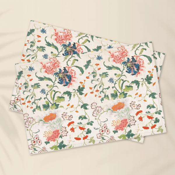 Placemats set / Antique Blooming Floral