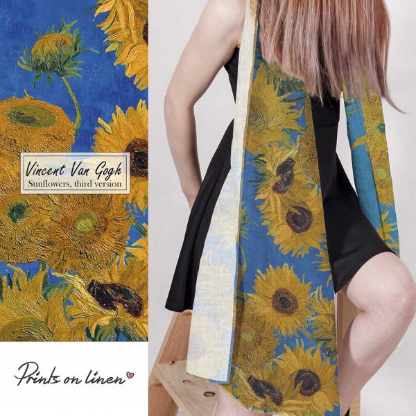 Linen scarf / Sunflowers 3th