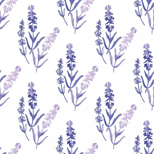 Decorative watercolor lavender pattern