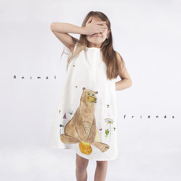 Girls dress with animated bear