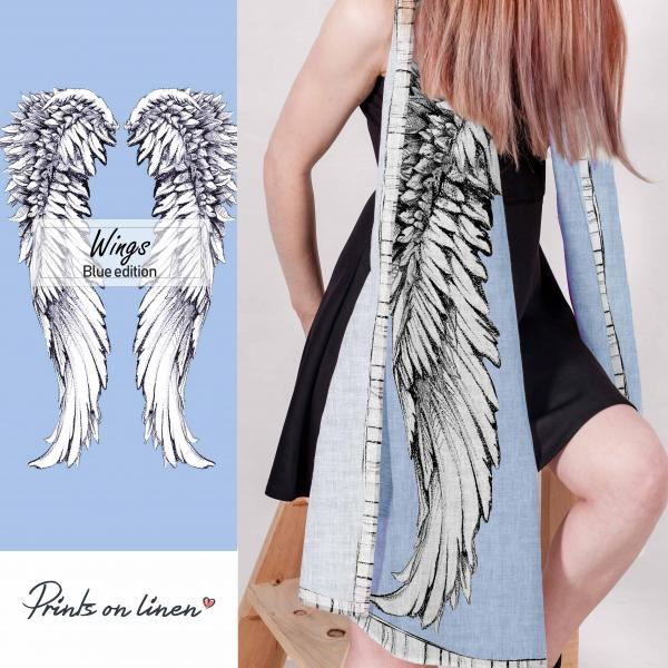 Linen scarf with wings (blue background)