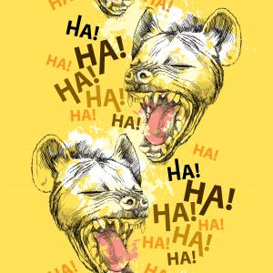 Seamless pattern with laughing hyena.
