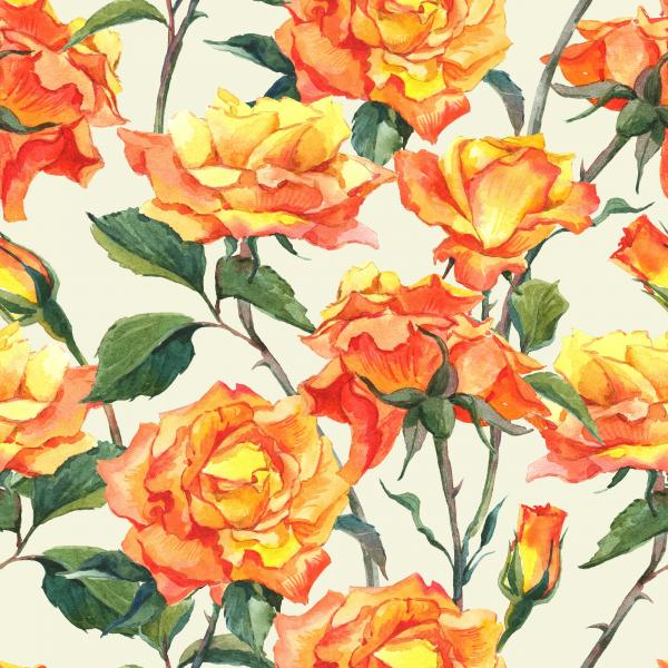 Watercolor Floral Pattern with Yellow Garden Roses