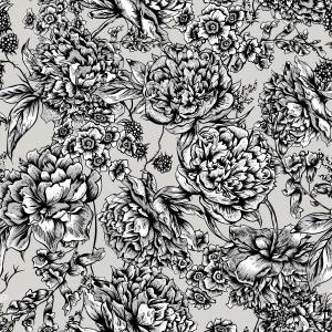 Black and white pattern with flowers and berries