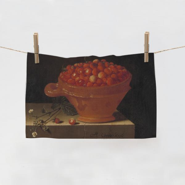 Kitchen Towel / A Bowl of Strawberries on a Stone Plint