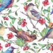Watercolor birds on a branch with red berries