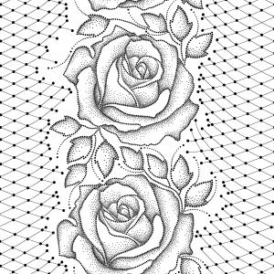 Seamless pattern with dotted black roses, leaves and decorative lace on the white background.