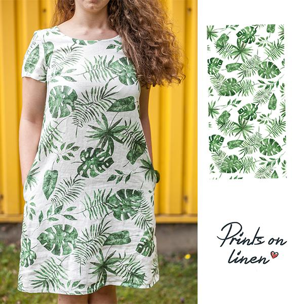 "Linen woman's dress ""Monstera leaves"" with sleeves"