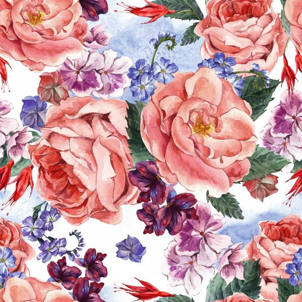 Pattern with Floral Bouquet of Roses