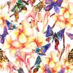 Tropical watercolor pattern with exotic flowers and butterflies