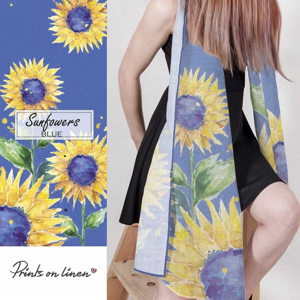 Linen scarf / Watercolour Sunflowers