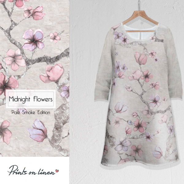 Linen dress / Midnight Flowers (pale smoke edition)